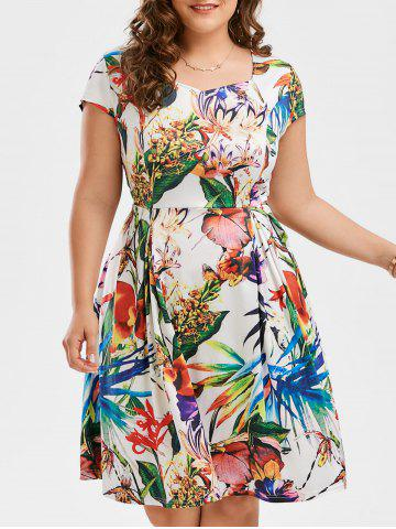 Cheap Plus Size Leaf Floral Print Sweetheart Dress