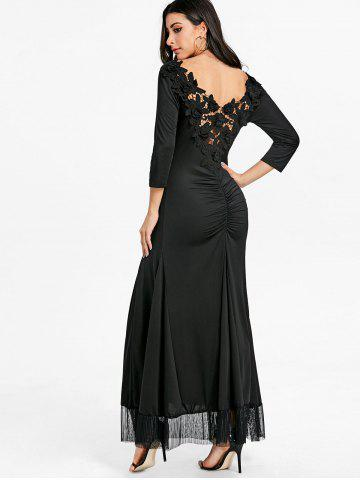 Back Lace Ruched Floor Length Dress