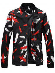 Zip Up Painting Printed Bomber Jacket -