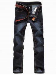 Bleach Wash Straight Leg Jeans -