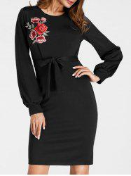Embroidered Mini Bodycon Dress -
