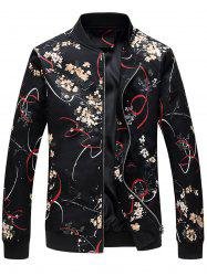 Zip Up 3D Florals - Veste à imprimé ruban -