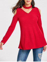 V Neck Cold Shoulder Jumper Sweater with Choker -
