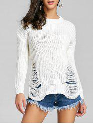 Ripped Chunky Knit Sweater -