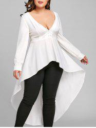Plus Size Long Sleeve High Low Shirt - White - 5xl