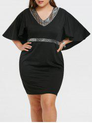 Sequins Plus Size Bell Sleeve Bodycon Dress -