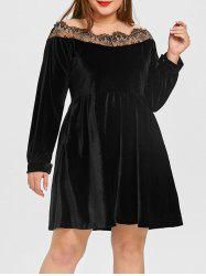 Velvet Lace Panel Plus Size Dress -
