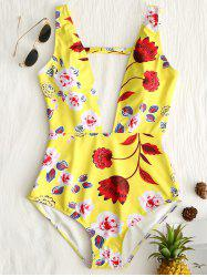 One Piece Floral Plunge Neck Swimsuit -