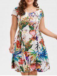 Plus Size Leaf Floral Print Sweetheart Dress -