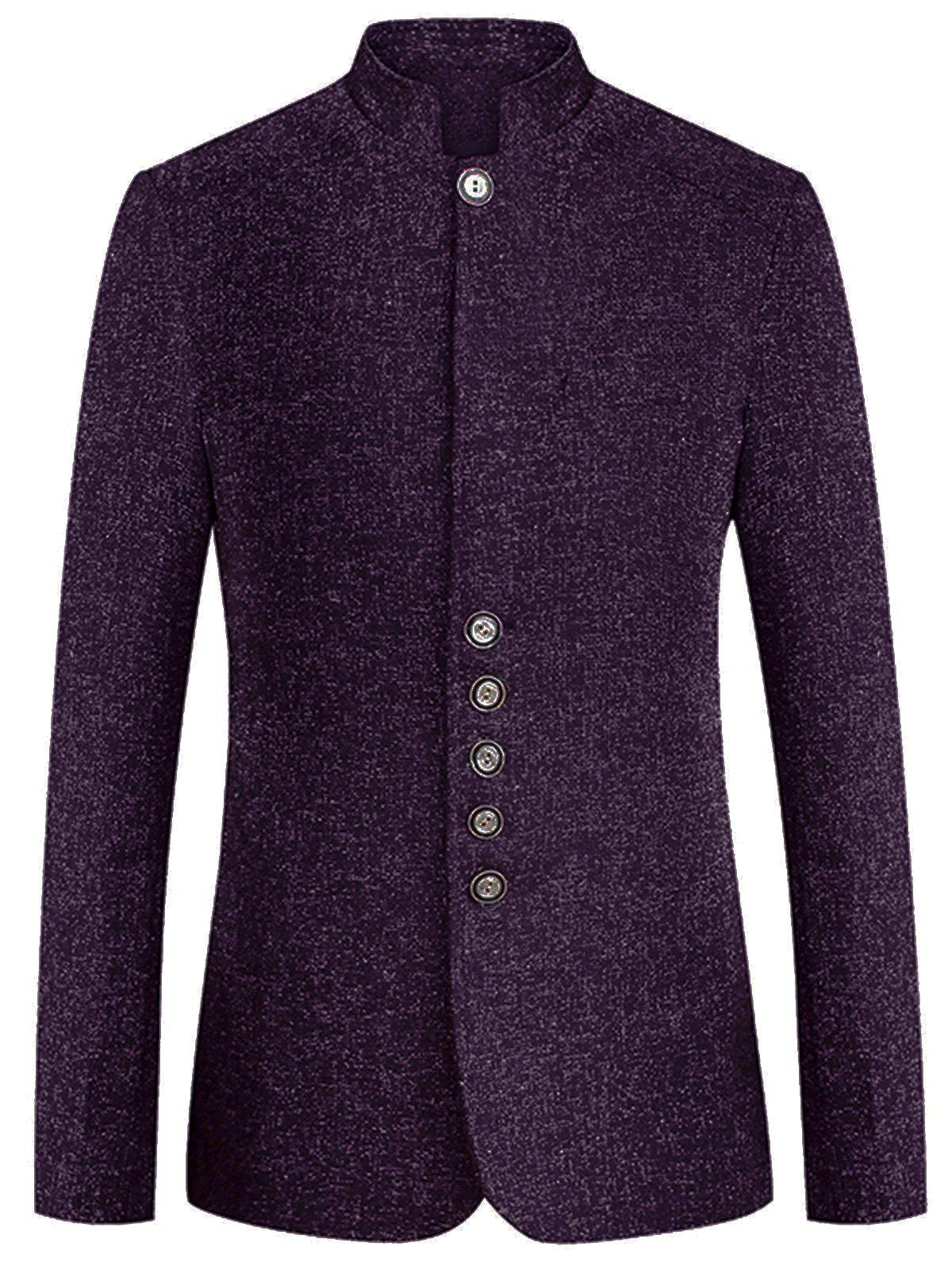 Fancy Mandarin Collar Wool Blend Single Breasted Blazer