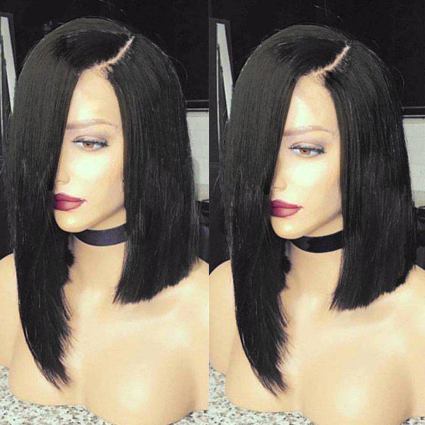 New Medium Side Parting Asymmetric Straight Bob Synthetic Wig