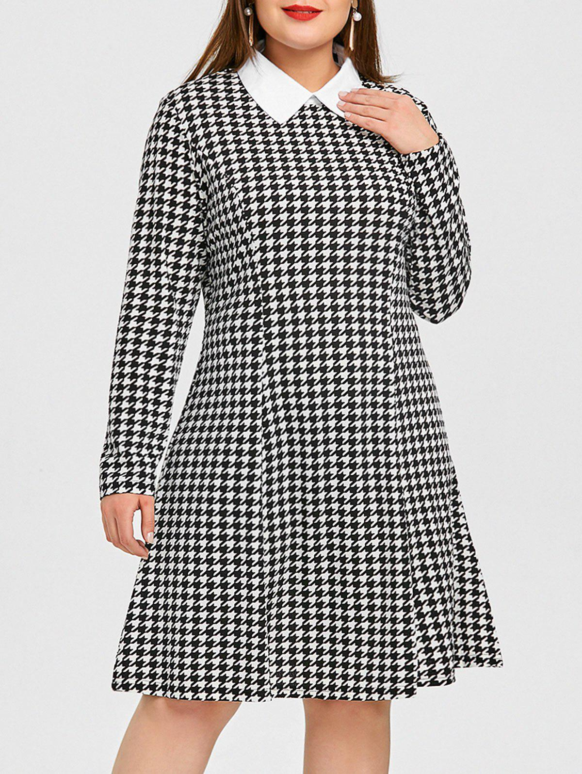 Chic Houndstooth Shirt Collar Plus Size Dress
