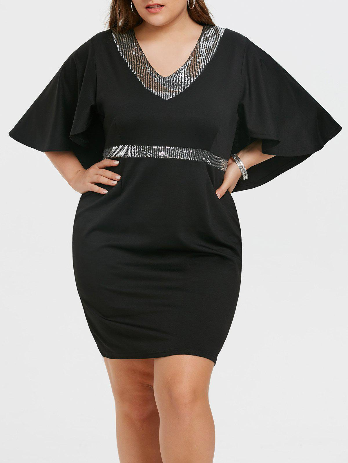 Shop Sequins Plus Size Bell Sleeve Bodycon Dress