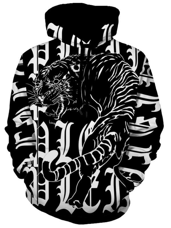 Affordable Tiger Print Kangaroo Pocket Pullover Hoodie