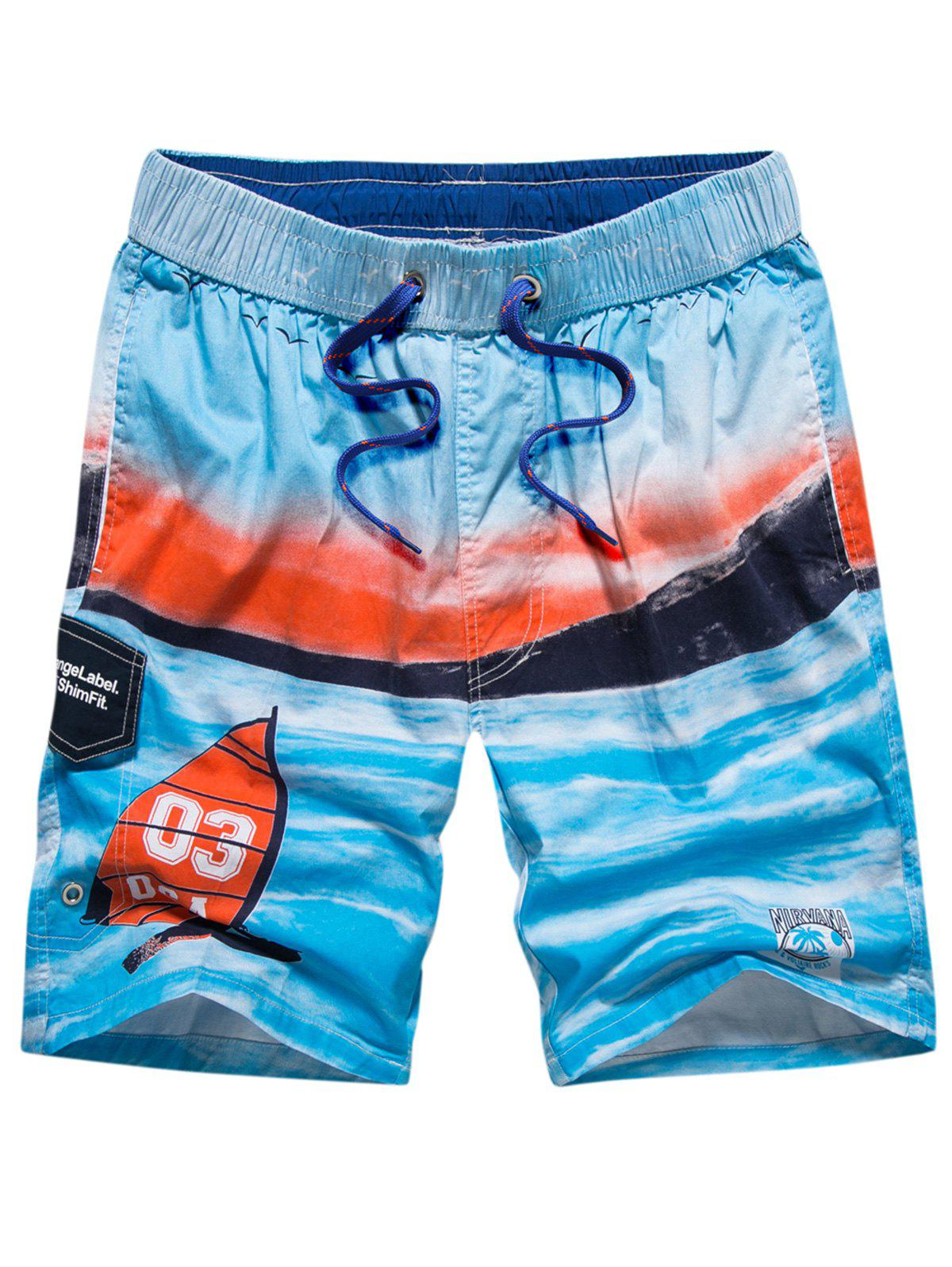 Online Tie-dye 3-pockets Beach Shorts