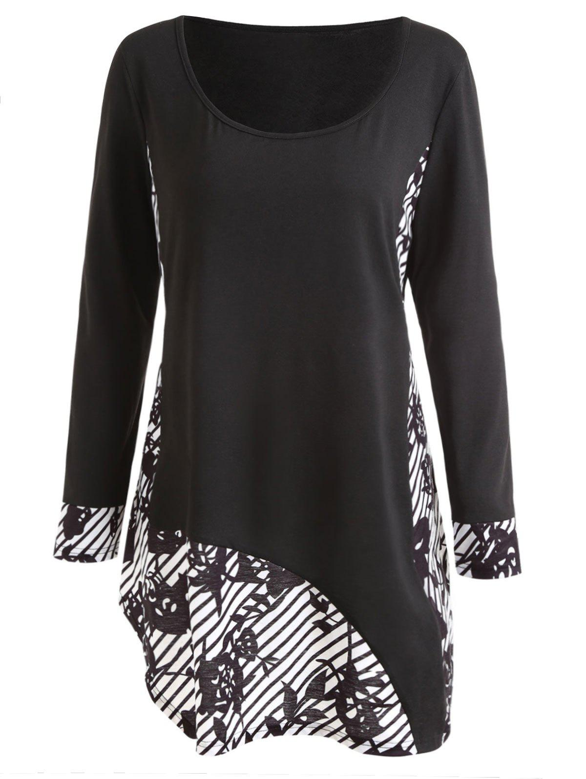 Outfit Plus Size Long Sleeve Leaf Stripe Print T-shirt