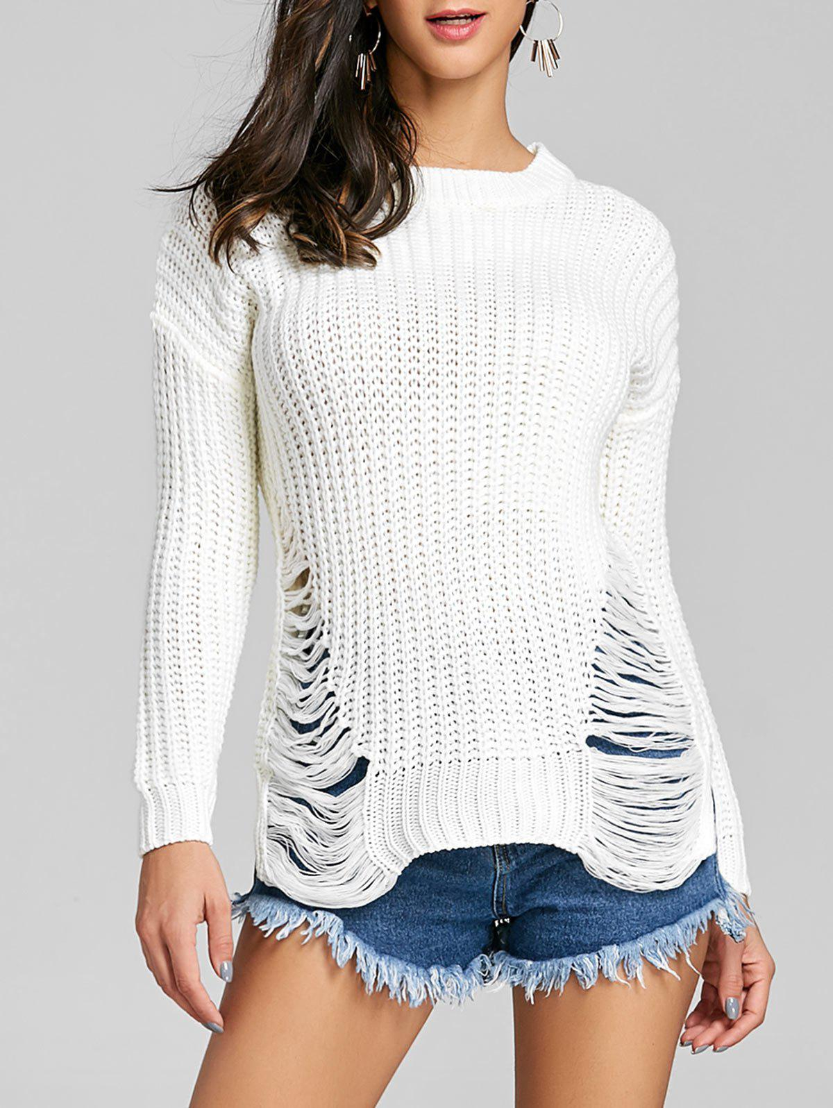 Ripped Chunky Knit Sweater