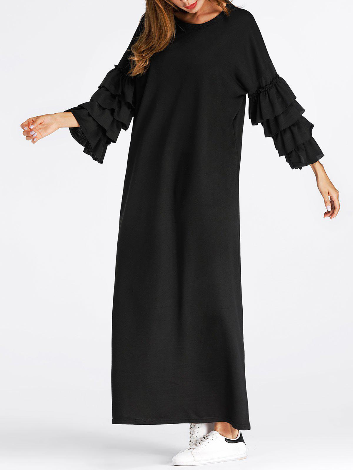Cheap Layered Flare Sleeve Maxi Dress