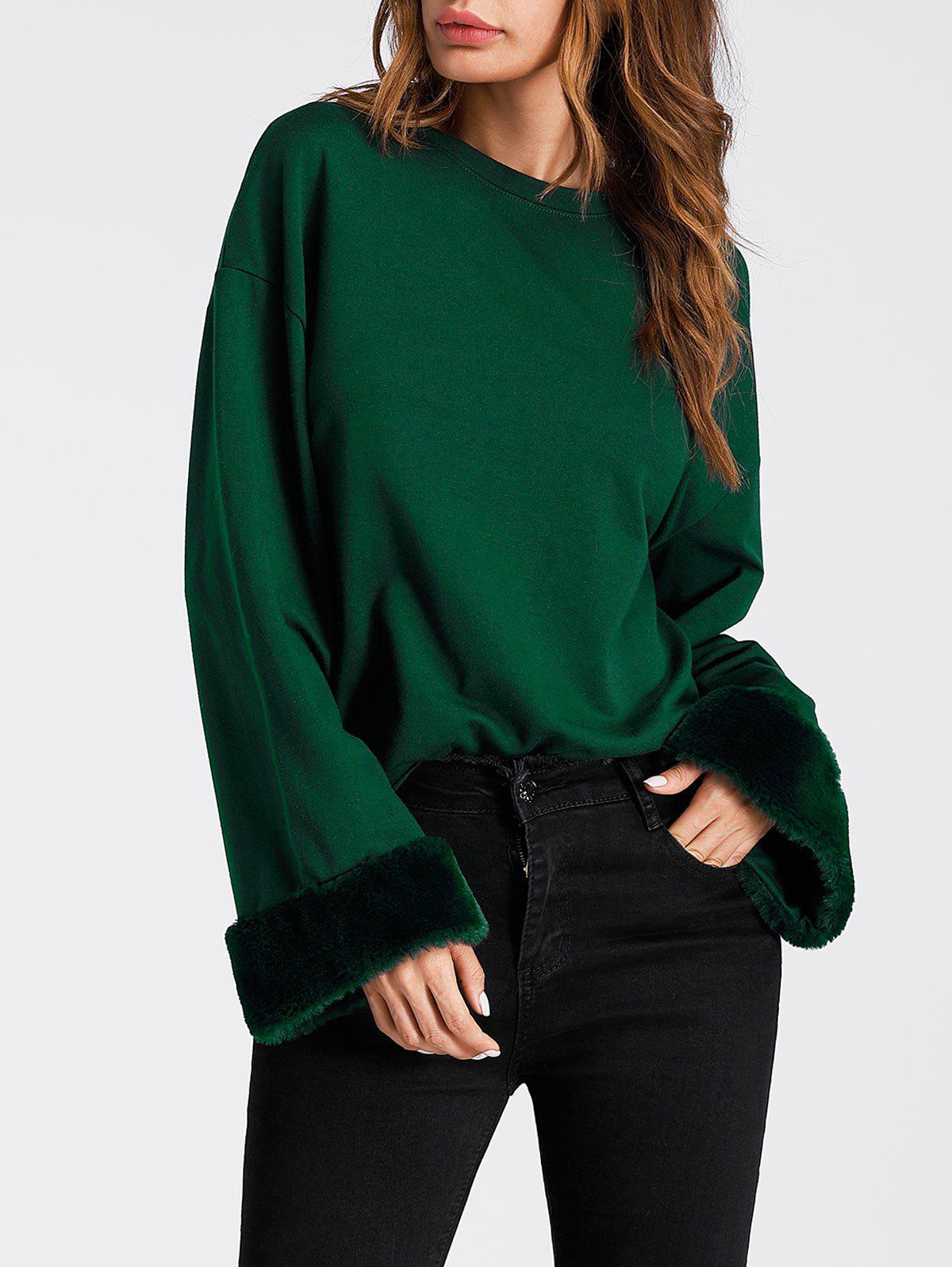 Buy Faux Fur Panel Drop Shoulder Sweatshirt