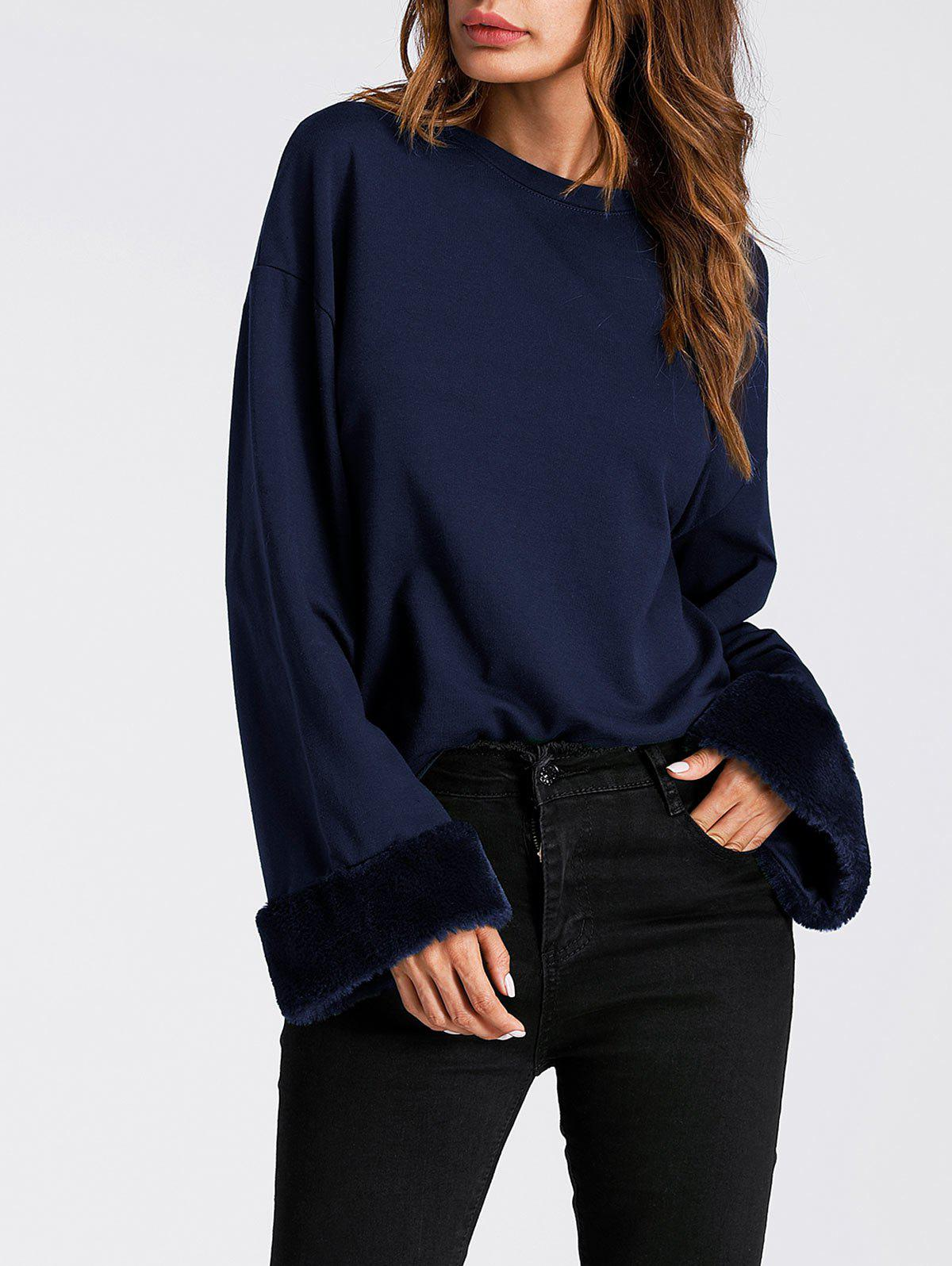 Unique Faux Fur Panel Drop Shoulder Sweatshirt
