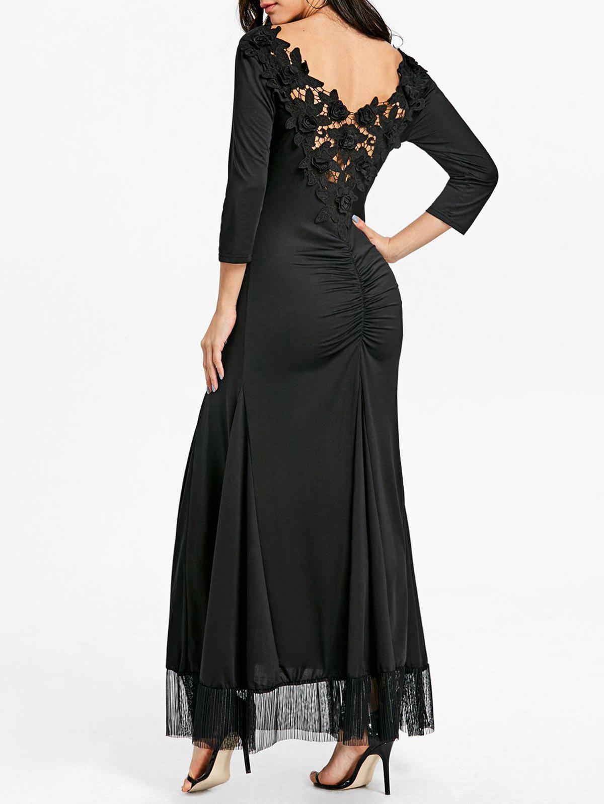 Shops Back Lace Ruched Floor Length Dress