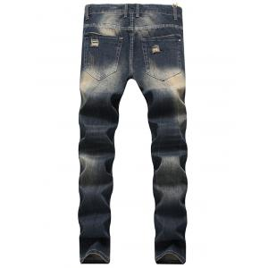 Zip Fly Straight Leg Vintage Distressed Jeans -