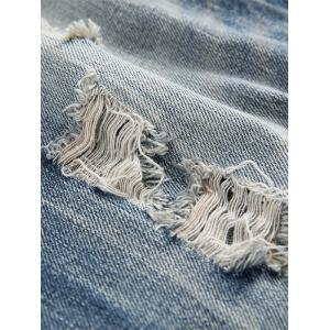 Straight Leg Faded Distressed Jeans -