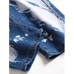 Slim Fit Zip Fly Tie Dyed Biker Jeans -