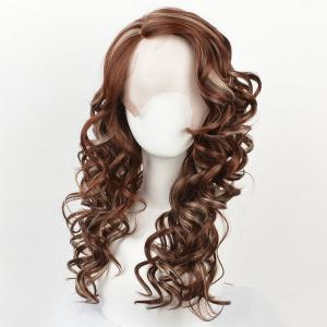 Long Side Parting Highlight Wavy Synthetic Lace Front Wig -