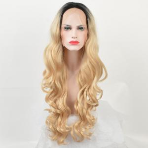 Long Ombre Center Parting Loose Wave Lace Front Synthetic Wig -