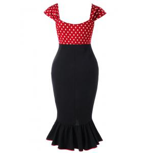 Plus Size Polka Dot Mermaid Dress -