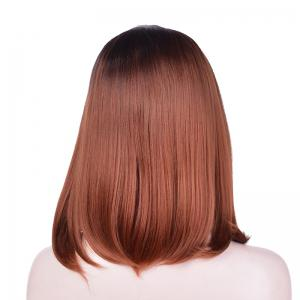 Medium Side Parting Straight Ombre Bob Synthetic Lace Front Wig -