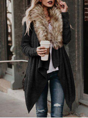 Online Faux Fur Neck Asymmetrical Coat
