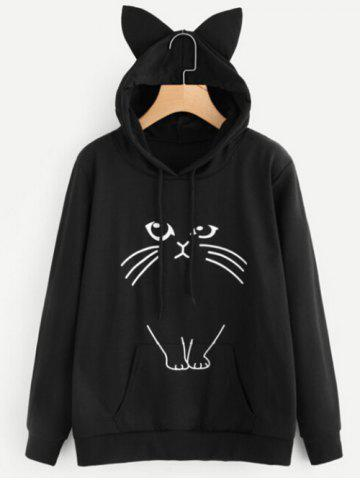 Drawstring Cat Pattern Pullover Hoodie