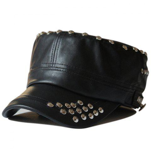 Store Rivet Decorated PU Leather Flat Top Hat