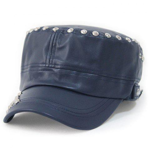 Hot Rivet Decorated PU Leather Flat Top Hat