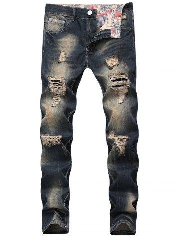 Fashion Zip Fly Straight Leg Vintage Distressed Jeans