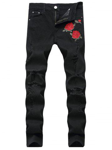 Flower Embroidered Ripped Jeans with Straight Leg