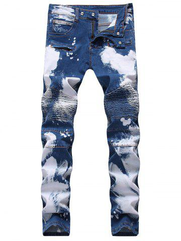 Fashion Slim Fit Zip Fly Tie Dyed Biker Jeans