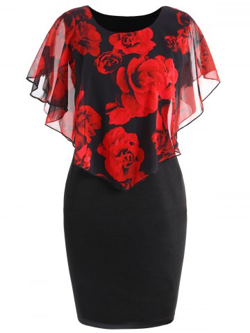 Sale Plus Size Rose Valentine Capelet Dress
