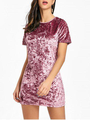 Fashion Velvet Short Sleeve Mini Dress