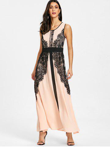Lace Panel Long Evening Dress