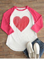 Heart Print Raglan Sleeve T-shirt -