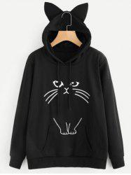Drawstring Cat Pattern Pullover Hoodie -