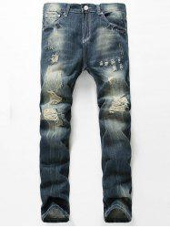 Straight Leg Distressed Jeans -