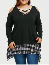 Plus Size Asymmetrical Tunic T-shirt with Plaid Extender Skirt -