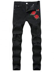 Flower Embroidered Ripped Jeans with Straight Leg -