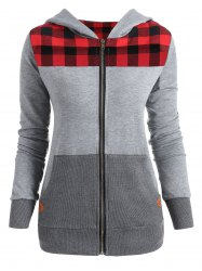 Plus Size Plaid Insert Zip Up Hoodie -