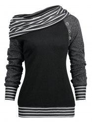 Raglan Sleeve Stripe Trim Skew Neck T-shirt -