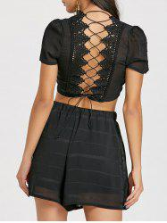 Lace-up Back Two Piece Shorts Set -